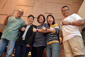 INTREPID: (From left) Mr Khoo Swee Chiow, Miss Lee Peh Gee, Miss Joanne Soo and Miss Sim Yihui - from the Singapore Women's Everest Team - and local professional athlete and inspirational speaker Shariff Abdullah Peters.