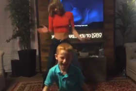 """7-year-old Dylan Barnes had the chance to dance with Taylor Swift backstage after appearing on """"The Ellen DeGeneres Show""""."""