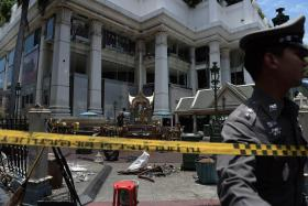 The site of the bomb blast that killed 20 people and injured 125 others.