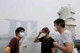 Tourists wearing masks while visiting the Merlion Park on Sept 24.