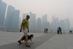 Haze conditions outside Marina Bay Sands at 5.30pm on Thursday