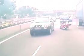 Accident on PIE: The 25-year-old motorcyclist was pronounced dead at the scene.