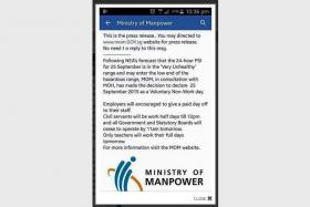 "The Ministry of Manpower has debunked a rumour that Sept 25 would be a ""voluntary non-work day"" due to the worsening haze situation."