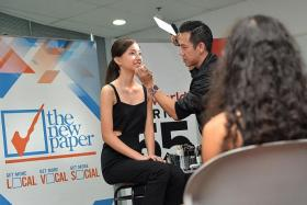 DEMONSTRATION: The New Paper New Face 2015 finalist Miss Vanessa Ho having her make-up done by senior make-up artist Beno Lim from M.A.C Cosmetics.