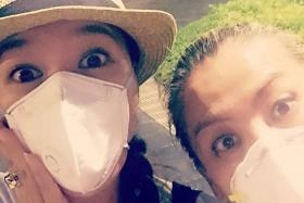 Belinda Lee (above, left) is just one of the many local celebrities to post haze pics.