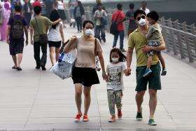 MASKED: (Above) A family puts on masks to protect themselves from the haze as they stroll along the Jubilee Bridge yesterday. Many others, from band performers  to a cleaner, also don masks.