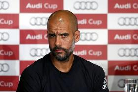 """Oh come on, I'm coach of Bayern Munich... Many thanks and auf wiedersehen."" — Bayern Munich coach Pep Guardiola (above) saying goodbye to reporters at yesterday's press conference"