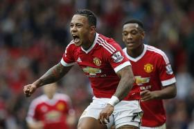 ON TARGET: Memphis Depay's (above, with Anthony Martial) goal against Sunderland is his first in the EPL.