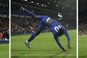ACROBATICS: Romelu Lukaku celebrating his 84th-minute winner against West Brom.