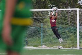 I would be lying if I said I wasn't nervous ahead of the LionsXII match, but all I can do is work hard and have faith in God that everything will work out. — Kedah's teenage goalkeeper Syazwan Abdullah (above), who is in line to make his first start in a crunch Malaysia Cup tie with the LionsXII tonight