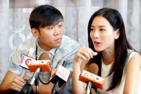 Wang Weiliang (left) and Venus Wong, who co-star in upcoming comedy Lucky Boy.