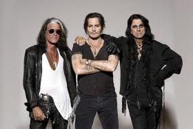 BAD BOYS: (From left) Joe Perry, Johnny Depp and Alice Cooper of Hollywood Vampires.