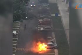 A car burst into flames at a HDB car park in Paya Lebar.