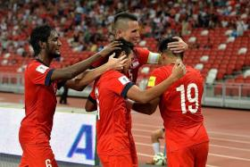 ALL FOR ONE: Baihakki (centre) feels the team can't always rely on the seniors like Khairul Amri (far right) to come up with the goods.