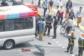 The mini bus driver said he was turning right at the road junction when the accident happened.