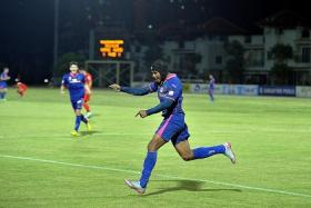 GRATEFUL: Fazrul Nawaz (above) is quick to credit his influences Noh Alam Shah and Aleksandar Duric, and his coach Alex Weaver for his rise as a striker.