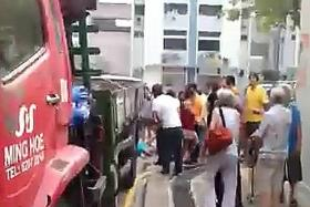 MOTIONLESS: The accident happened at 4.45pm on Monday at a carpark behind Block 801, French Road.