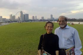 Lawyer Rengarajoo Balasamy and his wife, Madam Low Foong Meng, at the Marina Barrage in 2010. Govindasamy Nallaiah, a former client of Mr Rengarajoo, was charged with Madam Low's murder.