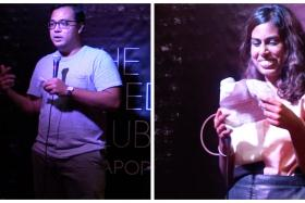 Two TNP reporters Azim Azman (left) and Jennifer Dhanaraj (right) tried stand-up comedy for the first time at a regular open mic night.