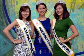 WINNERS: (From left) Second runner-up Miss Charis Lin, winner Miss Charity Maru and first runner-up Miss Kuek Ziyi for the Miss World Singapore 2015 pageant.