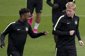 5: Man City's Kevin de Bruyne (right, with Raheen Sterling) has scored five goals and provided four assists in his last seven games in all competitions.