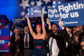 Katy Perry cheers for Democratic Presidential candidate Hillary Clinton at the Jefferson-Jackson Dinner in Des Moines, Iowa.