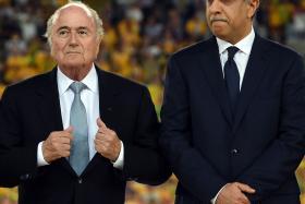 Suspended Fifa president Sepp Blatter (left) with Asian Football Confederation president Sheikh Salman Ebrahim al-Khalifa.