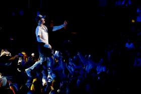 Justin Bieber performed on stage during a mini concert in Oslo on Oct 29. The Canadian was supposed to perform about six songs songs but walked off after the first song