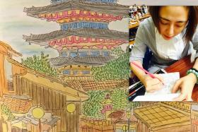 """Cynthia Koh, local actress, who is now hooked on adult colouring books, said that the hobby allows her to reconnect with her """"inner child""""."""
