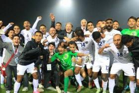 Johor Darul Ta'zim celebrating their AFC Cup 2015 win.