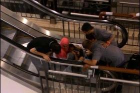 A three-year-old boy's foot was stuck in an escalator in Suria KLCC on Sunday (Nov 1).