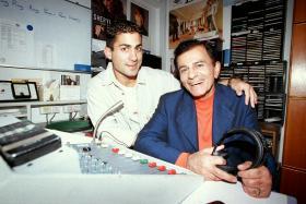 Legendary American radio DJ Casey Kasem and his son Mike Kasem, a local DJ at Gold 90.5FM.