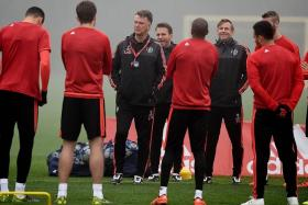 CRACK THE WHIP: Louis van Gaal (third from left) needs his players to rediscover their scoring touch.
