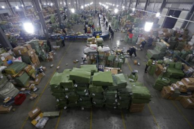 Distribution warehouses have to deal with a surge in orders on Nov 11, better known as Single's Day, where many online shops offer big discounts.