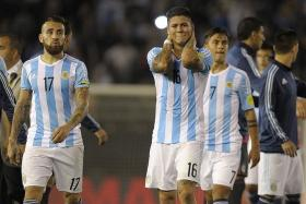 AWFUL ARGIES: Lucas Lima's equaliser for Brazil consigned arch-rivals Argentina (above) to ninth spot in the 10-team South American World Cup Qualifying table.