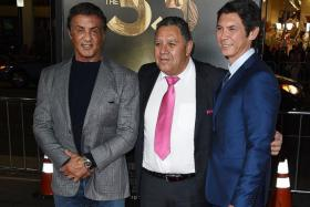 STARS: (From left) Actor Sylvester Stallone, Chilean miner Luis Urzua and actor Lou Diamond Phillips.