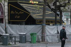 The secured and cordoned off crime scene of the Bataclan concert hall is pictured on November 14, 2015