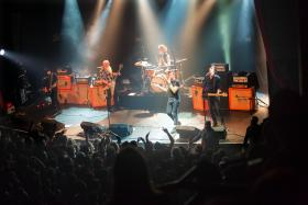 American rock group Eagles of Death Metal perform on stage on Nov 13 at the Bataclan concert hall in Paris, just a few moments before men armed with assault rifles stormed into the venue.