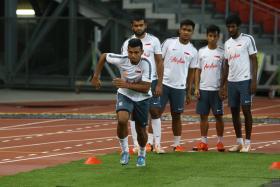 CHASING GAME: Singapore's forwards like Fazrul Nawaz (left) need to step up with Khairul Amri out injured.