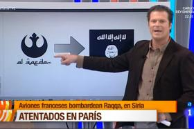 A Spanish TV reporter mistakenly used a logo from the Star Wars franchise to represent terrorist group Al Qaeda.