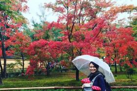 AUTUMN COLOURS: Snapshots from the celebrity couple's holiday in Japan.