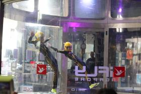 Team Firefly putting on a spectacular performance with their impressive indoor skydiving skills before the 1st Inter-school So You Think You Can Fly: School Edition competition