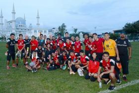 END OF THE ROAD? LionsXII posing in Kuantan, ahead of their Malaysia Cup quarter-final, first-leg clash with Pahang, which they lost 4-1.