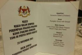 A picture of a menu card for a Parliament staff dinner in Malaysia went viral because of its typos.