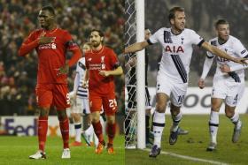 Liverpool's Christian Benteke (left) celebrating after scoring his goal. In a different match, Harry Kane wheels away after nodding home Tottenham Hotspurs winner.