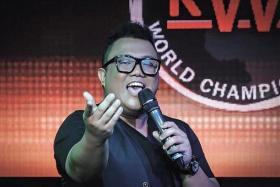 CHAMPION CROONER: Mr Muhammad Fairus Adam performing at the Karaoke World Championships (above) and winning the men's title.