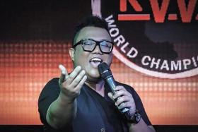 CHAMPION CROONER: Mr Muhammad Fairus Adam performing at the Karaoke World Championships (above) and winning the men's title.