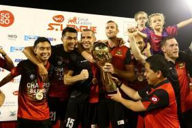 WONDER WASPS: Brunei DPMM celebrating their first S.League title after winning their final game against Balestier Khalsa on Nov 21.
