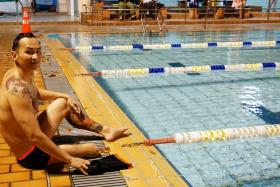 Mr James Leo at his training session. He will be swimming in the upcoming Asean Para Games.