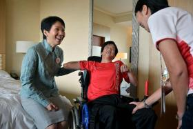 GOOD TO GO: (From left) Minister for Culture, Community and Youth Grace Fu speaking with Boccia player Toh Sze Ning, as Dr Teo-Koh Sock Miang, president of the Singapore Disability Sports Council and Singapore National Paralympic Council, looks on.